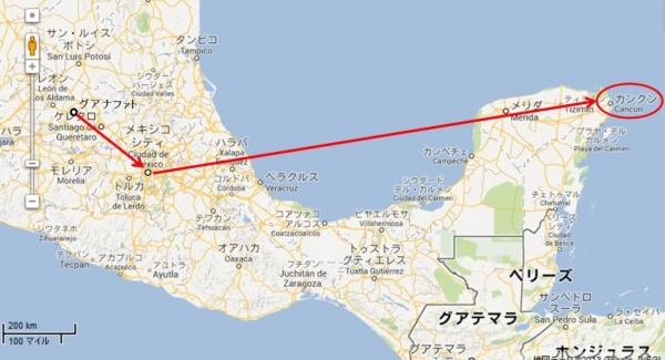 guanajuato_cancun_map